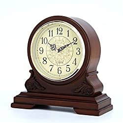 Wooden Mantel Clocks, Mantle Desk Table Clock Silent Standing Classic Analog Finish Shelf Clock Ornament, Battery Operated,22.123Cm