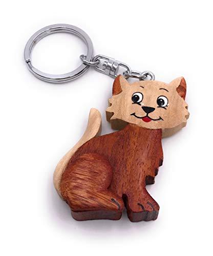 Onwomania Porte-clés chat en bois animal de compagnie mignonne gueule de bois chaton gueule de bois pendentif nez en fourrure Stubentiger