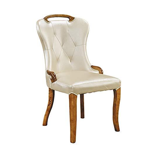 QFWM Sillas de Comedor Espesa de Color Blanco lechoso Artificial Asientos de Piel sólido Ocasional Silla de Madera 2 sillas de Roble for Silla de Comedor Cocina Comedor Muebles