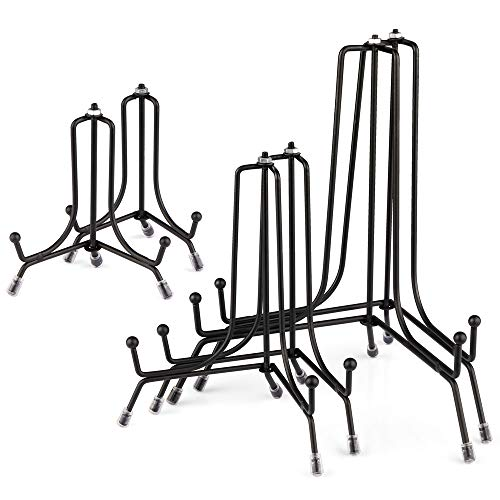 Mocoosy 6 soportes de placa antideslizantes mejorados de 3 tamaños para exhibición,caballete de hierro negro para marcos de fotos,soporte de exhibición para arte de mesa de placa decorativa(4,6,8inch)