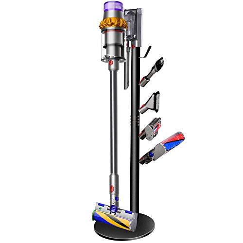 XIGOO Storage Stand Holder Compatible with Dyson V15 Detect, V11 V10 V8 V7 V6 Cordless Vacuum Cleaners and Accessary, Floor Docking Station Metal Organizer Bracket with 5 Hooks, Black