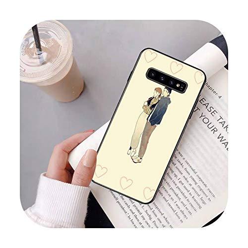 Cuty-girl Un par ilustración teléfono caso para Samsung S20 Ultra S10 S10e S8 S9 Plus S7 borde Nota 10 9 8 negro suave TPU caso-a4-Para S20 ULTRA