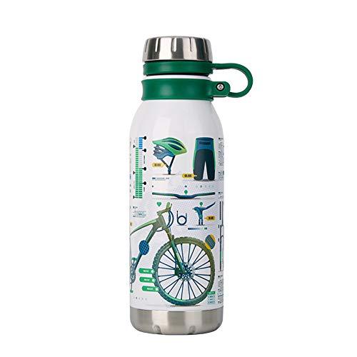 YHDQ 3D touch roestvrij stalen sportfles, fitness isolatie illustratie rijden, grote capaciteit fiets sport beker, geschikt voor indoor fitness, outdoor toerisme bergbeklimmen stijlnaam size Groen