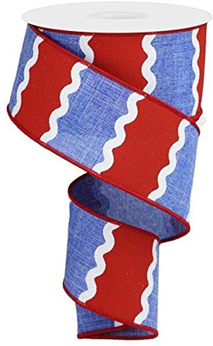 Wavy Stripes on Canvas Wired Edge Ribbon - 10 Yards (Blue, Red, White, 2.5