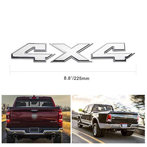 Silver 4X4 Emblem Badge 8.8 Inch Sticker for Ford Dodge Ram 1500 2500 3500