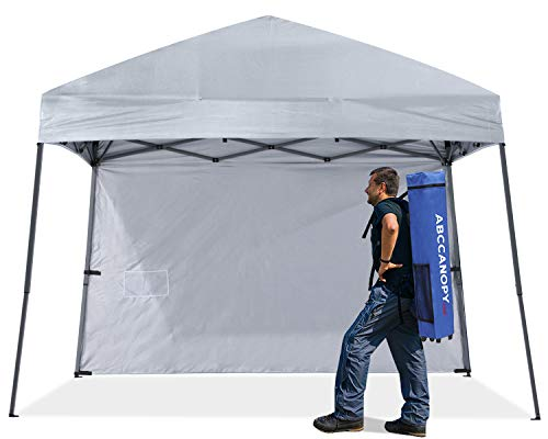 ABCCANOPY Outdoor Pop Up Canopy Beach Camping Canopy with 1 Sun Wall, Bonus Backpack Bag, Stakes and Ropes,Gray