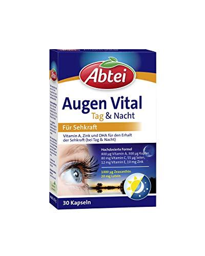 Abtei Augen Vital Tag und Nacht - Hochdosiertes Nahrungsergänzungsmittel zur Unterstützung des Erhalts der Sehkraft - mit Vitamin A, B2 C und E, Zink, und DHA - 1 x 30 Kapseln
