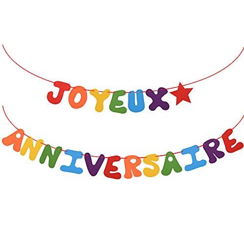 VINFUTUR Joyeux Anniversaire Bannière en Feutre Guirlande Happy Birthday Banner Décorations de Fête d'Anniversaires Party pour Enfants Adultes