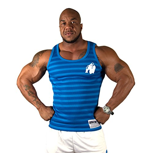 Gorilla Wear Stripe Stretch Tank Top - blau - Bodybuilding und Fitness Bekleidung Herren, XXL/XXXL