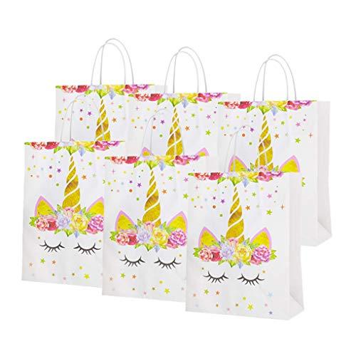 Dsaren 12 Pcs Einhorn Party Taschen Wiederverwendbar Treat Taschen Papier Geschenktüten für Kinder Geburtstag Baby Shower Party Zubehör