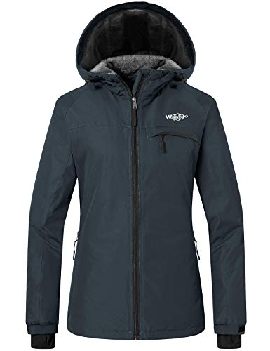 Wantdo Damen Mountain Wasserdichte Skijacke Winddicht Kapuze Winter Schneemantel - Grau - Medium