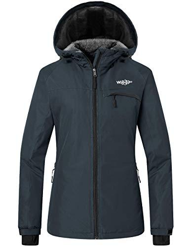 Wantdo Women's Mountain Ski Jacket Waterproof Rain Coat Short Parka Dark Gray L