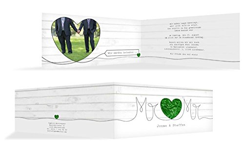 Hochzeitskarten: Hochzeitseinladung Mr&Mr, hochwertige Einladung zur Heirat inklusive Umschläge | 15 Karten (format: 215.00x105.00mm) color: Grün