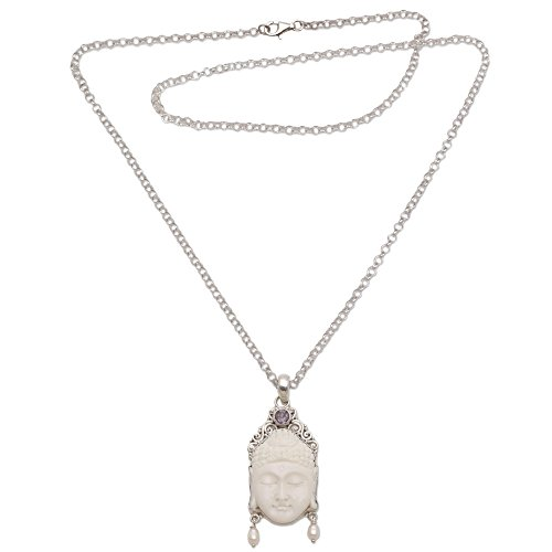 NOVICA Amethyst Silver White Cultured Freshwater Pearl .925 Silver Bone Necklace, Blessed Buddha'