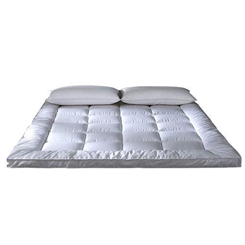 Premium gewatteerde hoeslaken voor matras, wit laken superzacht, hypoallergeen topper, microvezel alternatief vullen ademend bed Cover