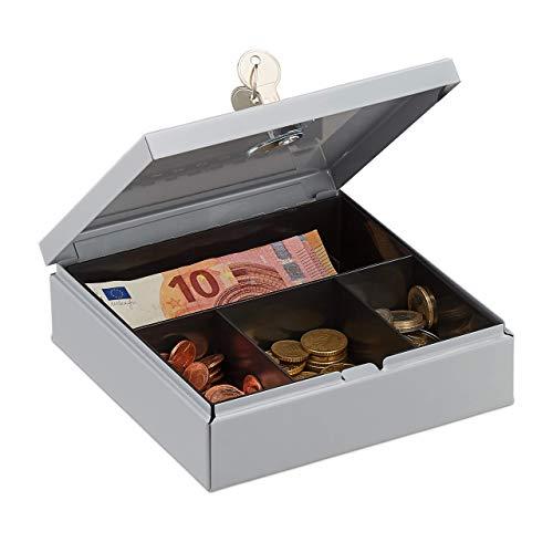 Relaxdays geldcassette afsluitbaar, kas met muntenvak, geldbox met 2 sleutels, geldcassette, BxD: 17 x 17 cm, grijs
