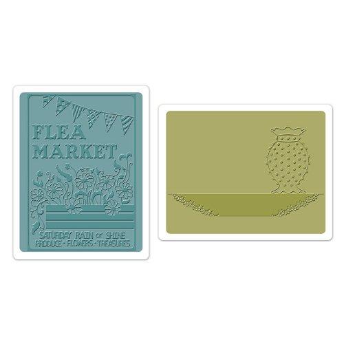 Sizzix Textured Impressions Reliëfmap Flea Market en Hobnail vaas van J, 2-delige verpakking, meerkleurig