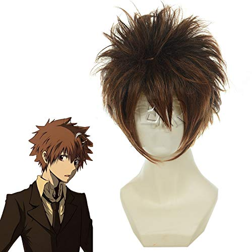 Katekyo Hitman Reborn Sawada Tsunayoshi Cosplay peluca corta marrn mezcla suave resistente al calor fibra peluca disfraz Perucas Kuzz011H