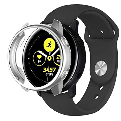 Careflection Soft TPU Bumper Full Around Coverage Screen Guard Protector Frame Protective Cover Case Shell Compatible with Samsung Galaxy Watch Active (Silver)