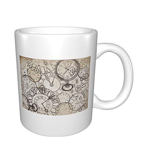 N\A Taza de café de 11 onzas - Keeping Time Relojes Vintage - Taza de café/té/Cacao de cerámica Divertida - Taza de café única e Idea de Regalo para Hombres/Mujeres/Jefes/compañeros de Trabajo