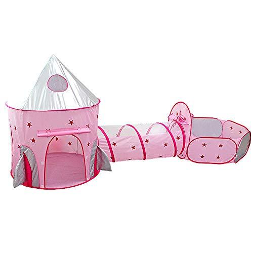 Spielzelt Mit Tunnel Und Bällen, 3-Teiliges Rosa Babyzelt Bällebad Spielhaus, Spielzelt Kinderzelt Babyzelt Mädchen Mit Krabbeltunnel Für Zuhause & Im Garten