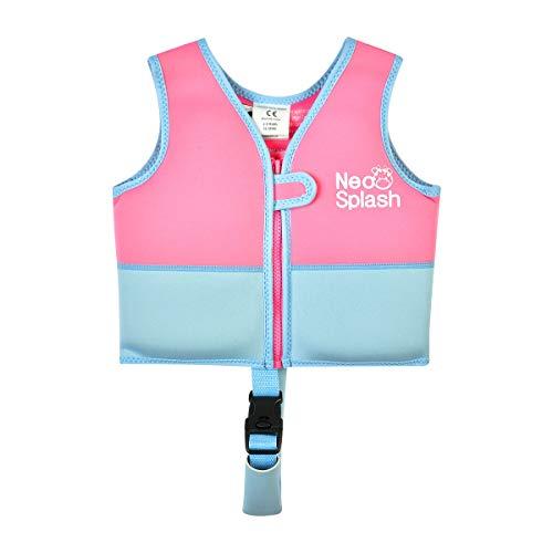 NEO-SPLASH Chaleco de natación para niños y niñas, con correas de seguridad ajustables, edad 1 – 6 (rosa, azul, 3 – 6)