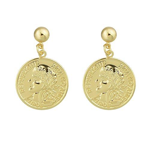 Feelontop® Gold Farbe Metall Menschliches Gesicht geschnitzt Frankreich Münze Form baumeln Ohrringe mit Schmuck Beutel