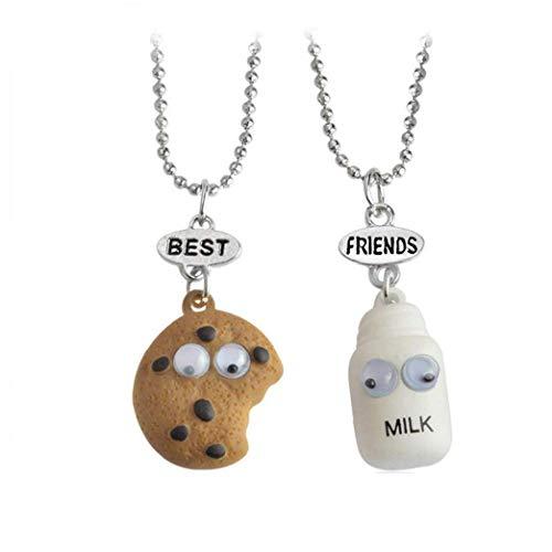 DINEGG 2 unids/Set Cookie and Milk Best Buds Colgante Collar de Cadena de Cuentas Mini joyería de Alimentos en Miniatura QQQNE