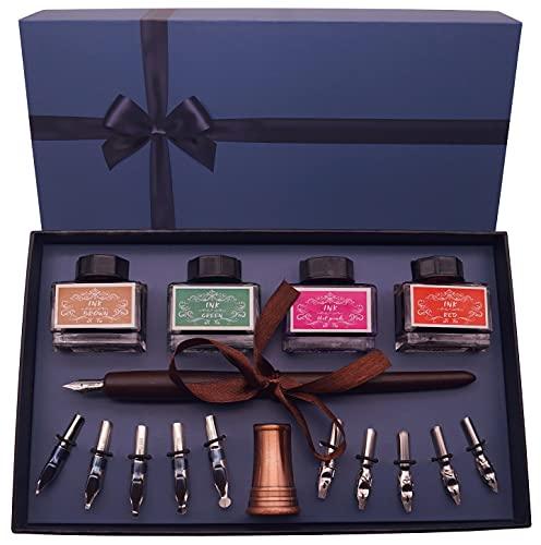 Plotube Calligraphy Pen Set – Includes Wooden Dip Pen, Antique Brass Holder, 11 Nibs, 4 Ink Bottle and Beginner's Manual