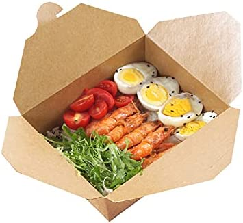 AIZYR Caja de Comida rápida de cartón para Llevar - 20PCS Fiambrera desechable ecológica Recipientes de Comida a Prueba de Fugas para Restaurante Home,800ml