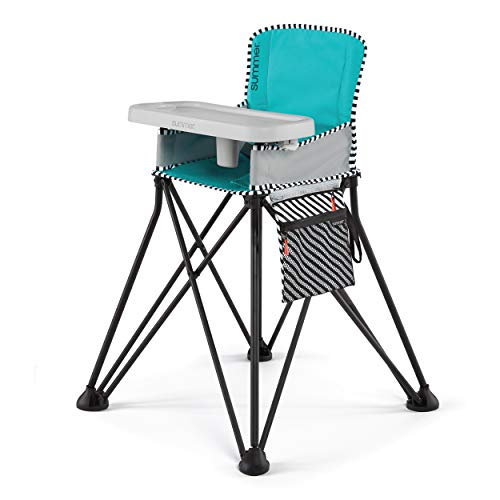 Summer Pop 'n Sit SE Highchair, Sweet Life Edition, Aqua Sugar Color - Portable High Chair for Indoor/Outdoor Dining - Space Saver High Chair with Fast, Easy, Compact Fold, for 6 Months - 45 Pounds