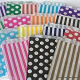 Rainbow Creations mixed colour paper sweet gift bags striped and spotted polka dots small 5 x 7 free thank you stickers ideal for gift shops wedding favors sweet candy carts buffets market stalls