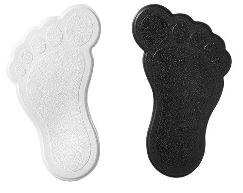 RIDDER 69590 Mini Dusch- und Badewanneneinlage XXS, Saugtiere, Wannentiere, Badespaß, Füße weiß-schwarz, 6 Stück