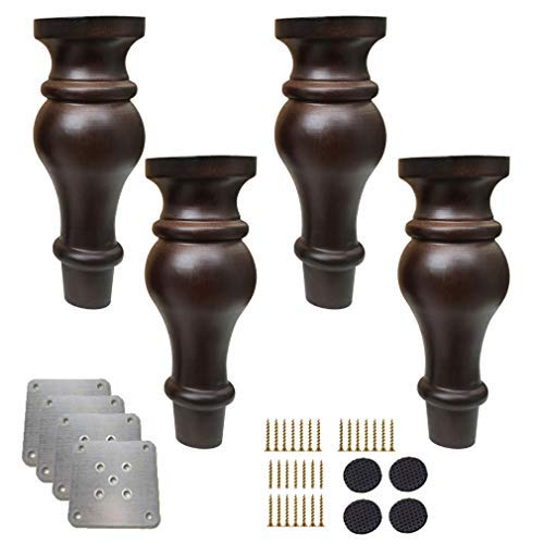 BJYG Pack of 4 Wooden Furniture Legs,Solid Wood Gourd Shape Replacement Bun Feet,Antique Sofa Feet,for Cabinet Couch Chair Bed Ottoman,with Mounting Plate & Screws(18cm)