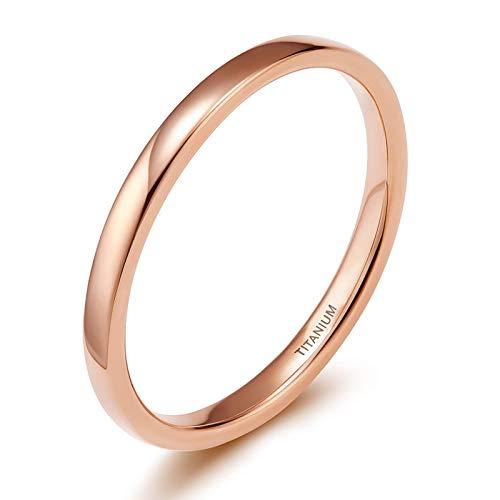 Zakk Ring Damen Herren 2mm 4mm 6mm Titan Poliert Schmal Ringe Verlobungsringe Ehering Hochzeitsringe (Rosegold-2mm, 60 (19.1))