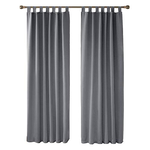 Deconovo Home Decorative Grey Curtains Thermal Insulated Blackout Curtains Tab Top Curtains Room Darkening Curtains for Bedroom Light Grey W55 x L79 Inch One Pair