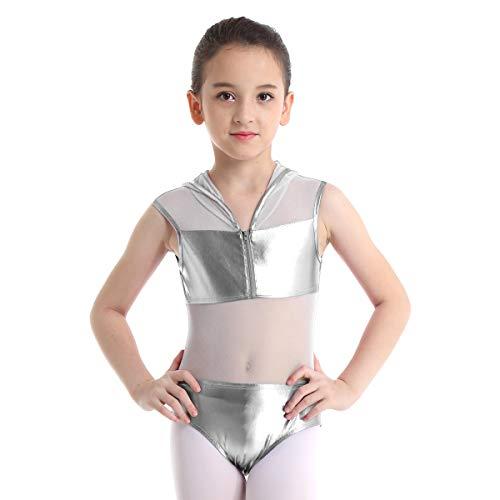 inhzoy Maillot de Gimnasia Rítmica Charol para Niña Leotardo Malla de Ballet Patinaje con Capucha Jumpsuit Body Danza con Cremallera Traje Bailarina Plateado 4 Años