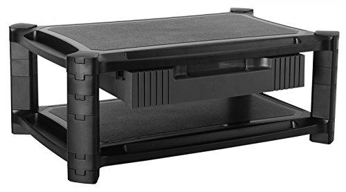 Preisvergleich Produktbild RICOO WM3-L,  Monitor-Ständer mit Schublade,  Modular,  Aufsatz,  Standfuss,  Bildschirm-Erhöhung mit Stift Tablet Organizer,  Podest,  Büro-Möbel,  Schwarz