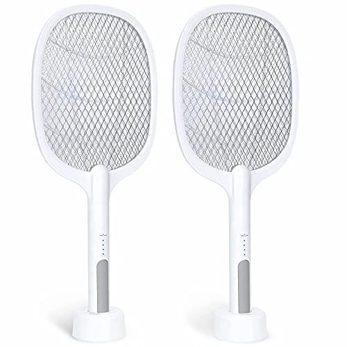 Bug Zapper, 3000Volt Indoor & Outdoor Electric Fly Swatter, Rechargeable Mosquito Killer Racket for Home, Bedroom, Kitchen, Office, Backyard, Patio (2 Packs)……
