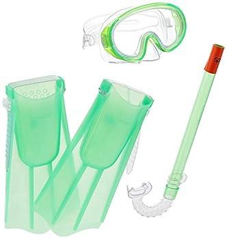 Speedo Unisex-Child Aqua Quest Swim Mask Snorkel & Fins Set  Glow Green Large/X-Large
