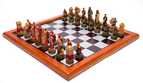 395x395 mm Roman and Celtic Troops Handpainted Figures on Wooden Chess Board
