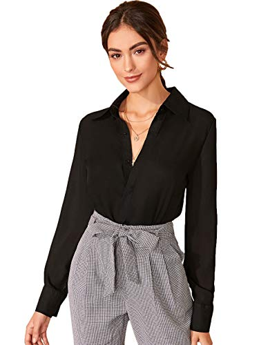 Floerns Women's Long Sleeve Button Up Shirts Chiffon Office Work Blouse Top Black Solid S