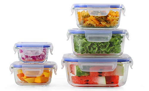 5 Pack Square Heat Resistant Borosilicate Glass Airtight Containers with Lock Down Lids By Popit