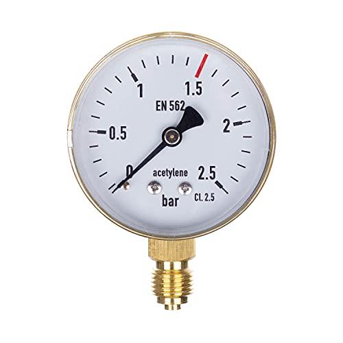 THERMIS Manómetro de soldadura 404 Manómetro de soldadura para medición de presión de gases técnicos Salida (0-2.5 bar) Conexión inferior