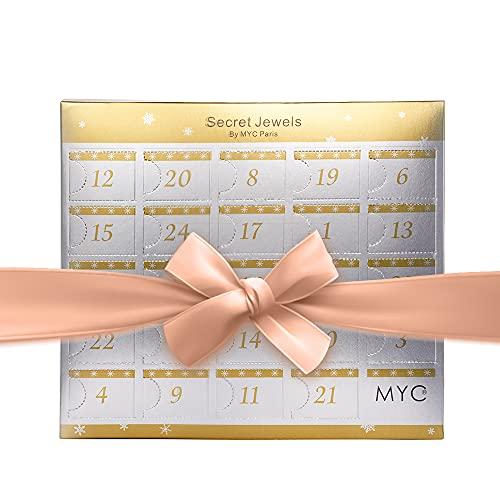 MYC-Paris - Calendrier de l'avent Coffret cœur Surprise - 14 Bijoux - Finition Rosée - Cristal d'Autriche Haute qualité - Noël, Saint Valentin, Fête des mères