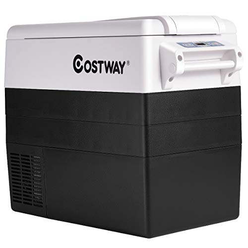 COSTWAY Car Refrigerator, 55-Quart Portable Compressor Freezer, -4°F to 50°F, Dual-Zone Electric Car Cooler with 3 Levels, LCD Display, Shockproof Design, RV Travel Fridge for Home, Camping (Black)