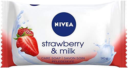 NIVEA Strawberry & Milk Pflegeseife (1 x 90 g), cremige Seife mit verwöhnendem Erdbeerduft, Handseife reinigt sanft mit Milchproteinen