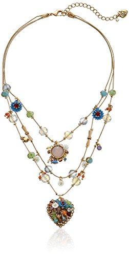 Betsey Johnson quotWeave and Sew Woven Mixed MultiColored Bead Flower Heart Illusion Necklace