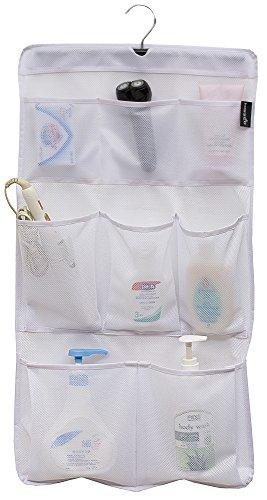 MISSLO Dusch-Organizer mit 8 Taschen, Netzstoff, zum Aufhängen, mit drehbarem Aufhänger, schnell trocknend, Badezimmer-Aufbewahrung (weiß)
