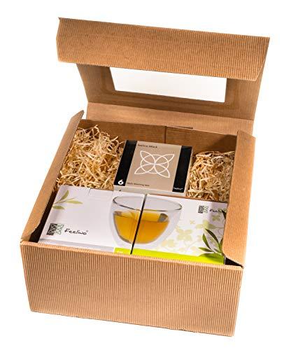 TEEBLUMEN-GESCHENKSET / 2x 250ml Herzglas doppelwandig + 6er-Box Teeblumen schwarzer Tee in neutraler naturfarbiger Geschenk-BOX - by Feelino